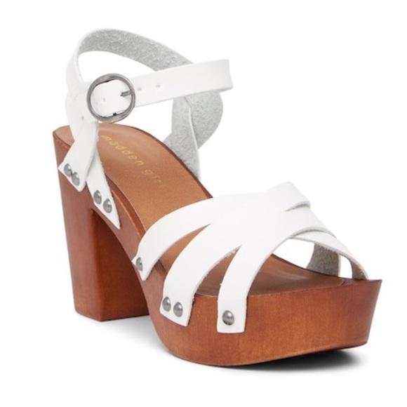 Madden Girl White Wooden Ankle Strap